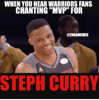 "Lmao, Nba, and Steph Curry: WHEN YOU HEAR WARRIORS FANS  CHANTING ""MVP"" FOR  @2NBAMEMES  STEPH CURRY Lmao😂 I heard warriors fans chanting MVP while steph was at the line😂 - Follow @2nbamemes"