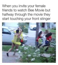 Bee Movie, Friends, and Memes: When you invite your female  friends to watch Bee Movie but  halfway through the movie they  start touching your front stinger Get on my stingy miss mingy via /r/memes http://bit.ly/2TQ7fe2