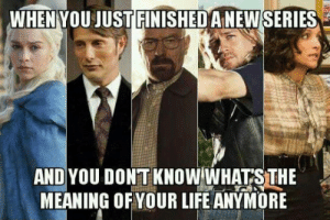 srsfunny:  My Life Has Run Out Of Meaning Recentlyhttp://srsfunny.tumblr.com/: WHEN YOU JUST FINISHED ANEW SERIES  AND YOU DONT KNOW WHATS THE  MEANING OF YOUR LIFE ANYMORE srsfunny:  My Life Has Run Out Of Meaning Recentlyhttp://srsfunny.tumblr.com/