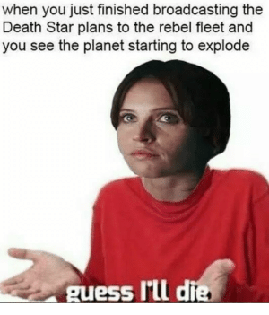 Death Star, Meme, and Death: when you just finished broadcasting the  Death Star plans to the rebel fleet and  you see the planet starting to explode  guess I'tll die Imágenes de I Guess Ill Die Meme Generator