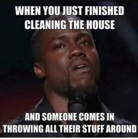 kevin hart face: WHEN YOU JUST FINISHED  CLEANING THE HOUSE  AND SOMEONE COMES IN  THROWING ALL THEIR STUFF AROUND