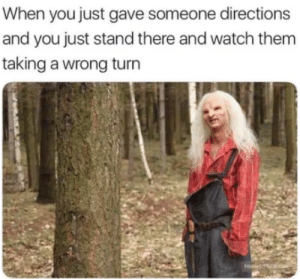 wait, what?: When you just gave someone directions  and you just stand there and watch them  taking a wrong turn  Molesd wait, what?