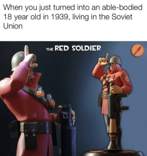 History, Old, and Soviet: When you just turned into an able-bodied  18 year old in 1939, living in the Soviet  Union  RED SOLDIER  THE Get drafted, comrade in arms.