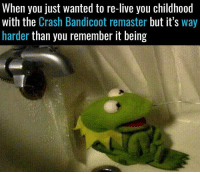 Tell me I'm not the only one 😥: When you just wanted to re-lIve you childhood  with the Crash Bandicoot remaster but it's way  harder than you remember it being Tell me I'm not the only one 😥