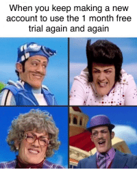 Best, Free, and Account: When you keep making a new  account to use the 1 month free  trial again and again 1 month free trials are the best