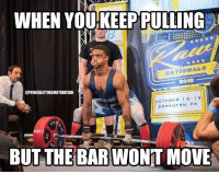 Memes, Shit, and 🤖: WHEN YOU KEEP PULLING  RIC  @POWERLIFTINGMOTIVATION  OCTOBER 1 5 1 B  SCRANTON PA  BUT THE BAR WONT MOVE Well shit. Featuring MikeParrott @powerliftingmotivation powerliftingmotivation
