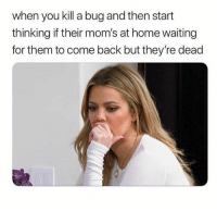 Moms, Snapchat, and Home: when you kill a bug and then start  thinking if their mom's at home waiting  for them to come back but they're dead Snapchat: bitchycodes