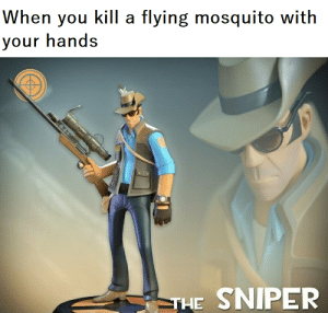 Dank Memes, Mosquito, and Sniper: When you kill a flying mosquito with  your hands  THE SNIPER Ya bloody wanker!