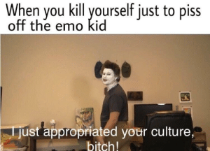 Bitch, Emo, and Haha: When you kill yourself just to piss  off the emo kid  just appropriated your culture,  bitch! Haha yes
