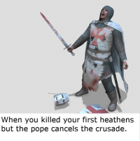 When you killed your first heathens  but the pope cancels the crusade Happens all the time
