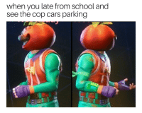 Cars, School, and Cop: when you late from school and  see the cop cars parking