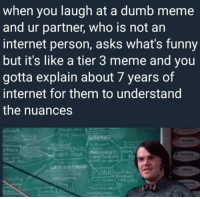 Dumb, Funny, and Internet: when you laugh at a dumb meme  and ur partner, who is not an  internet person, asks what's funny  but it's like a tier 3 meme and you  gotta explain about 7 years of  internet for them to understand  the nuances  HEA  Hord Rock n me irl