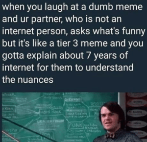 Dumb, Funny, and Internet: when you laugh at a dumb meme  and ur partner, who is not an  internet person, asks what's funny  but it's like a tier 3 meme and you  gotta explain about 7 years of  internet for them to understand  the nuances 😌