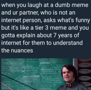 me irl by belvedere58 FOLLOW 4 MORE MEMES.: when you laugh at a dumb meme  and ur partner, who is not an  internet person, asks what's funny  but it's like a tier 3 meme and you  gotta explain about 7 years of  internet for them to understand  the nuances  RY  GRUNGE  ETT  Dn  NRNAN  A P LUM  M  SneAReN  HEAUY  Hard Rock  CHE  L NET  evng  HO  PUNKeOn  KAM  THTHECLS  PATI me irl by belvedere58 FOLLOW 4 MORE MEMES.