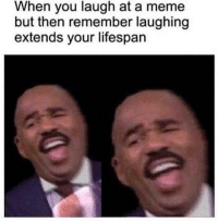 Meme, Memes, and 🤖: When you laugh at a meme  but then remember laughing  extends your lifespan https://t.co/bz0UgirZvY