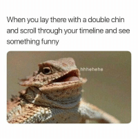Hehehe: When you lay there with a double chin  and scroll through your timeline and see  something funny  hhhehehe Hehehe