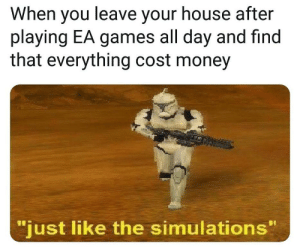 """Money, Games, and House: When you leave your house after  playing EA games all day and find  that everything cost money  just like the simulations"""" am i right guys?"""