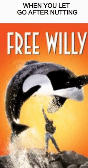 Titles aren't hard but i can't think of one: WHEN YOU LET  GO AFTER NUTTING  FREE WILLY Titles aren't hard but i can't think of one