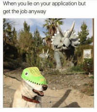 Memes, 🤖, and Job: When you lie on your application but  get the job anyway 😬 goodgirlwithbadthoughts 💅🏼