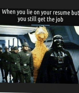 🧐: When you lie on your resume but  you still get the job 🧐