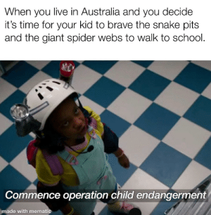 School, Spider, and Australia: When you live in Australia and you decide  it's time for your kid to brave the snake pits  and the giant spider webs to walk to school.  Commence operation child endangerment  made with mematic 5th kid is the charm