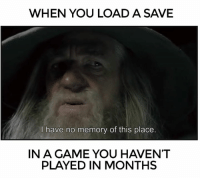 I Have No Memory Of This Place: WHEN YOU LOAD A SAVE  have no memory of this place.  IN A GAME YOU HAVENT  PLAYED IN MONTHS