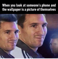 9gag, Memes, and Phone: When you look at someone's phone and  the wallpaper is a picture of themselves I often see they use their pics for keyboard background. Follow @9gag