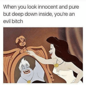 Bitch, Evil, and Deep: When you look innocent and pure  but deep down inside, you're an  evil bitch