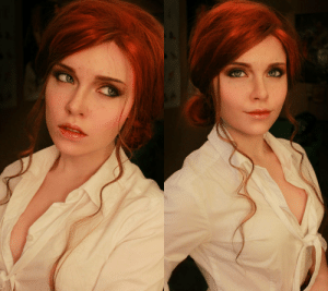 Doppelganger, Life, and Cosplay: When you look so close to the character you want to cosplay as that you dont even have to make any effort - Real life Triss from Witcher doppelganger