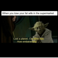 Ayyyyeee gonna be a way from wifi for like 5 days so won't be positing as much, but will try daily: When you lose your fat wife in the supermarket  Lost a planet, Obi Wan has  How embarassing Ayyyyeee gonna be a way from wifi for like 5 days so won't be positing as much, but will try daily