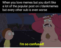 Confused, Love, and Memes: When you love memes but you don't like  a lot of the popular post on r/dankmemes  but every other sub is even worse  I'm so confused!
