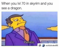 Skyrim, Eso, and Tes: When you lvl 70 in skyrim and you  see a dragon.  Pathetic  soliddrake86 Guys my lore account is now a screenshots-lore account, please follow @tundraofskyrim 🐲 ~ Accounts: - Other TES IG: @tundraofskyrim - Twitter: a_sweater_ - Snapchat: cocoachicken - YouTube: Link in bio. - Personal: @holly_rowlands_ - Fallout IG: @nuka.cherry • tes elderscrolls theelderscrolls elderscrollsv theelderscrollsv elderscrollsonline eso skyrim skyrimmeme skyrimmemes gaming game games rpg dovahkiin Dragonborn Bethesda dragon dragons pathetic thesimpsons simpsons skinner principalskinner tinysmile