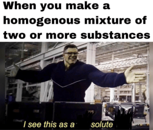 daily-meme:  Chemistry!: When you make a  homogenous mixture of  two or more substances  I see this as a  solute daily-meme:  Chemistry!