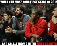 Nba, Rajon Rondo, and Nationals: WHEN YOU MAKE YOUR FIRST START OF2017  ONBAMEMES  AND GO 3/4 FROM 3IN THE IRST QUARTER Rajon Rondo be like. #Bulls Nation