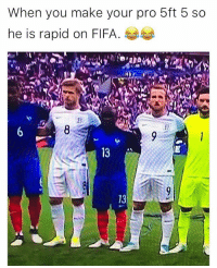 Fifa, Memes, and Pro: When you make your pro 5ft 5 so  he is rapid on FIFA