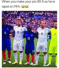 Fifa, Football, and Memes: When you make your pro 5ft 5 so he is  rapid on FIFA 😂😂😂 🔻FREE FOOTBALL EMOJIS -> LINK IN OUR BIO!