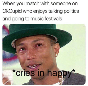 Music, Politics, and Happy: When you match with someone on  OkCupid who enjoys talking politics  and going to music festivals  *cries in happy