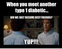 Crazy, Friends, and Best: When you meet another  type 1diabetic..  DID WE JUST BECOME BEST FRIENDS?  YUP!!! <p>  Last week I went to dinner with 5 other type 1 diabetics. I had a great time! It&rsquo;s crazy how bonded you feel even if you have never met before. And get this, our waitress was a type 1 too! What are the chances!! <i><i></i>:)</i> - Meredith  <br/></p>