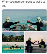 Memes, Weird, and Tag Someone: When you meet someone as weird as  you  ITS tag someone as weird as you 👽(@memes)