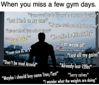 "Drake, Gym, and Meme: When you miss a few gym days.  TBym squad probably made a meme about  Most 2 inch on my arms  My gym rush probably forgot me  ml guess ishould order pizza's  T plays Drake  illim weak a  HFromsize XL to Sri  Gainz official  ""Lost all my gains""  ""Don't be mad Arnold""  ""Already lost 12lbs""  ""Maybe should buy some Tren/Test  ""Sorry calves  ""I wonder what the weights are doing"" 😂😂😂 @themgainz_official"