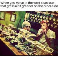 Memes, West Coast, and 🤖: When you move to the west coast cuz  that grass ain't greener on the other side @maryjaneminded