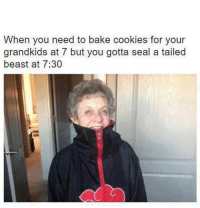 Cookies, Lmao, and Memes: When you need to bake cookies for your  grandkids at 7 but you gotta seal a tailed  beast at 7:30 Lmao 😂