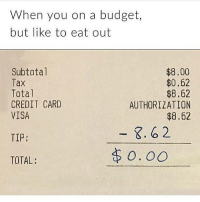 Life, Memes, and Life Hack: When you on a budget,  but like to eat out  Subtotal  Tax  Total  CREDIT CARD  VISA  $8.00  $0.62  $8.62  AUTHORIZATION  $8.62  TIP:  TOTAL @no_fucksgiiven this is Easily My fav life hack rp @no_fucksgiiven