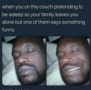 Being Alone, Family, and Funny: when you on the couch pretending to  be asleep so your family leaves you  alone but one of them says something  funny Just let me sleep