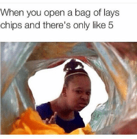 Seriously @lays can you fill that shit to the top for once?? (@1cheesepizza): When you open a bag of lays  chips and there's only like 5 Seriously @lays can you fill that shit to the top for once?? (@1cheesepizza)