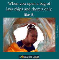By Hana Amaaz InstAdmin LebaneseMemes: When you open a bag of  lays chips and there's only  like 5.  via LEBANESE MEMES By Hana Amaaz InstAdmin LebaneseMemes