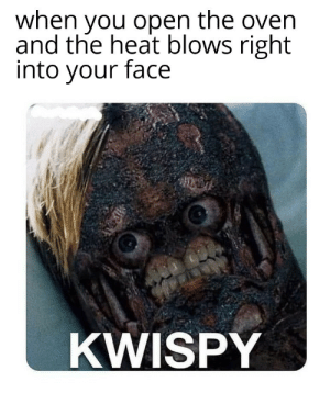 the heat: when you open the oven  and the heat blows right  into your face  KWISPY
