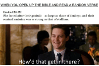 <p>DONKEY 🍆💦💦😩😩</p>: WHEN YOU OPEN UP THE BIBLE AND READ A RANDOM VERSE  Ezekiel 23: 20  She lusted after their genitals -as large as those of donkeys, and their  seminal emission was as strong as that of stallions.  How'd that get inlthere? <p>DONKEY 🍆💦💦😩😩</p>
