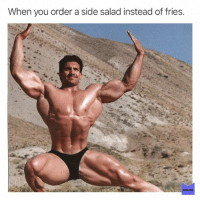 Memes, 🤖, and Ranch Dressing: When you order a side salad instead of fries.  .2  MEMES Also me: completely drown it in ranch dressing. (@memes)