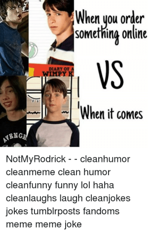 Who are these guys: When you order  somethine online  VS  DIARY OF A  WIMPY  When it comes  BNG  NotMyRodrick - - cleanhumor  cleanmeme clean humor  cleanfunny funny lol haha  cleanlaughs laugh cleanjokes  jokes tumblrposts fandoms  meme meme joke Who are these guys